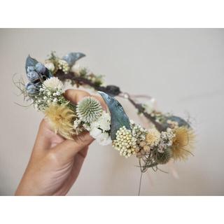 記念日を彩るドライフラワーの花かんむり  大人サイズ green ver.(ヘッドドレス/ドレス)