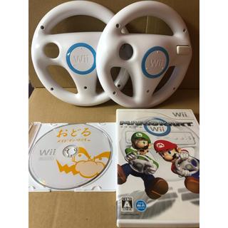 Wii - マリオカートWii ハンドル 2個 メイドインワリオ セット b