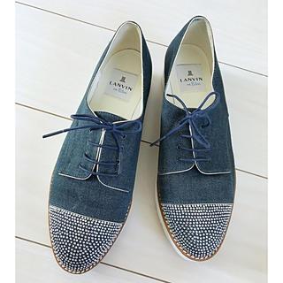 ランバンオンブルー(LANVIN en Bleu)のLANVIN on Blue ビジューxデニム  レースアップシューズ(ローファー/革靴)