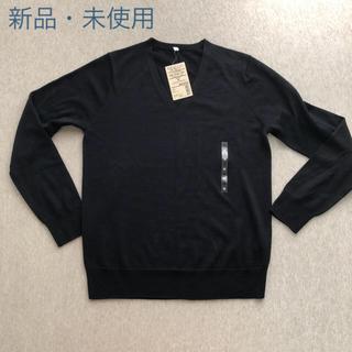 MUJI (無印良品) - 無印良品 無印  ウールシルク洗える Vネックセーター M 黒