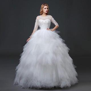 ★花嫁用純白ブライダルウェディングドレス 結婚式 披露宴 二次会 前撮りに