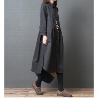 ゆったり♡シャツワンピース ブラック XXLサイズ 体型カバー マタニティ(ロングワンピース/マキシワンピース)