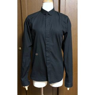 ディオールオム(DIOR HOMME)の正規良 ディオールオム CDRロゴ刺繍 細身ドレスシャツ 黒 36 XXS 8H(シャツ)