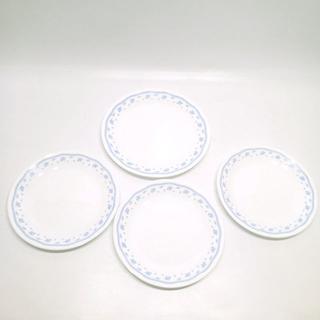 コレール(CORELLE)のC768 中古 Corelle コレール 丸皿 4枚セット 花柄 ブルー お皿(食器)