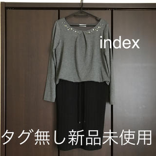 インデックス(INDEX)のindex 異素材ドッキングワンピ(ひざ丈ワンピース)