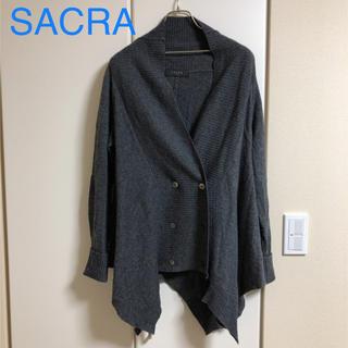 サクラ(SACRA)のSACRAニットカーディガン(グレー)サクラ(ニット/セーター)