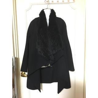 セオリー theory ファー付きブラック ウールコート