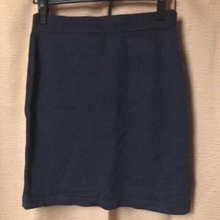 ジーユー(GU)のGU ニットスカート タイト ネイビー Lサイズ(ミニスカート)