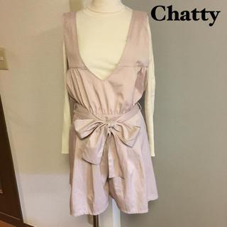 チャティアロマ(Chatty〜aroma〜)の【Chatty】リボン付き オールインワン サロペット(サロペット/オーバーオール)