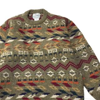 クージー(COOGI)のvintage ヨーロッパ古着 イギリス製 COOGI風 総柄 ウール セーター(ニット/セーター)