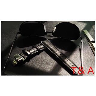 時計ベルト 時計バンド Dバックル カーフ革 クロコダイル型押し20mm 黒(レザーベルト)