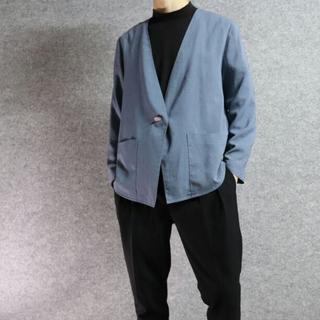 くすみブルー ノーカラー ジャケット 羽織り(シャツ)