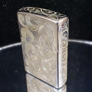 ジッポー(ZIPPO)の中古美品❤16J'ZIPPO全面手彫り❤フラワーエングレービング♥送料無料(タバコグッズ)