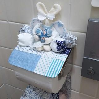 天使ドール青♡水色☆トイレットペーパーホルダーカバー(トイレ収納)