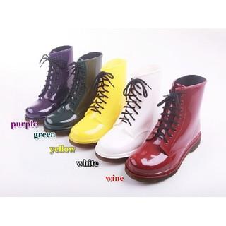 レインブーツ ショート 防水エナメル ラバーシューズ レインシューズ 23.5(レインブーツ/長靴)