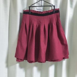 シーディーエスベーシック(C.D.S BASIC)の値下げ❗️【送料込】Lサイズ♡冬物♡レッドのフレアスカート(ひざ丈スカート)