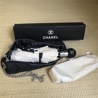 シャネル(CHANEL)のchanel シャネル折りたたみ傘 カメリア柄 ノベルティ(傘)
