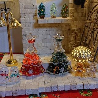 値下げ!ガラスのドレス♡クリスマスバージョン②グリーン系(ミニチュア)