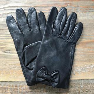 バービー(Barbie)の美品◆Barbie レザーブラック手袋✌︎(手袋)