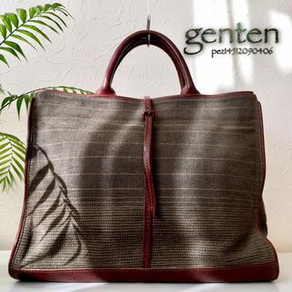 ゲンテン(genten)の◇超美品◆ genten ゲンテン 3万 牛革×キャンバス レザーハンドバッグ(トートバッグ)