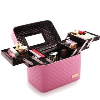 ピンク 大容量* メイクボックス 化粧ボックス(ドレッサー/鏡台)