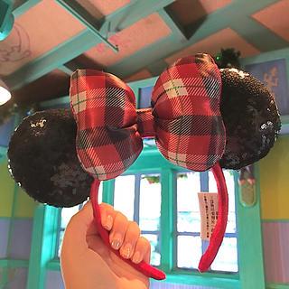 ミニーマウス - WDW ディズニー クリスマス カチューシャ チェック ミニー リボン