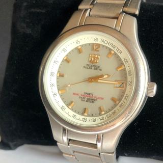 エルジン(ELGIN)のエルジン ソーラー チタン 軽量 メンズ 腕時計 夜光文字盤(腕時計(アナログ))