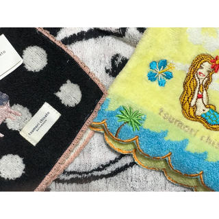 ツモリチサト(TSUMORI CHISATO)のツモリチサト 新品 タオルハンカチ 3枚 セット 販売 コスタリカ ネコ ドット(ハンカチ)