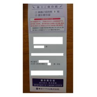 東京テアトル株主優待 映画ご招待券8枚+提示割引証(その他)