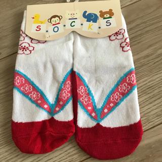 足袋風靴下/ソックス9-12cm赤 女の子(靴下/タイツ)
