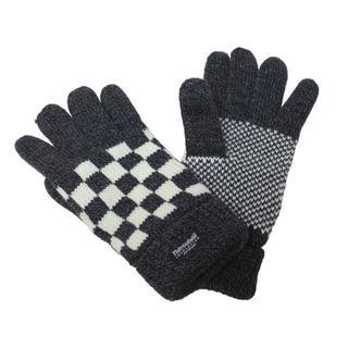 ニット手袋 ブロックチェック柄 シンサレート入り★ダークグレー/ホワイト新品(手袋)