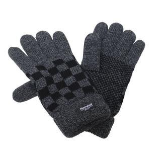 ニット手袋 ブロックチェック柄 シンサレート入り★ダークグレー/ブラック新品(手袋)