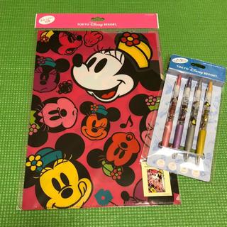 Disney - 新品 ディズニー お土産 クリアホルダー ボールペン セット