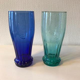 コカコーラ(コカ・コーラ)のグラス  コカコーラ  2個セット  ブルー&グリーン(グラス/カップ)