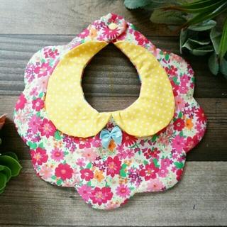 【54】黄色のドット襟 ピンクの花柄 ハンドメイド ベビースタイ(スタイ/よだれかけ)