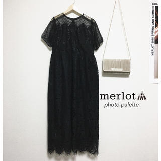 merlot - メルロープリュス ドットチュール レース切替 ロングドレス ワンピース
