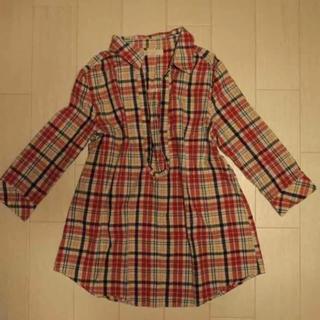 シマムラ(しまむら)のチェックシャツ チュニック丈 赤チェック 七分(シャツ/ブラウス(長袖/七分))