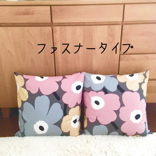 マリメッコ ウニッコ ピンク×グレー 2個セット(クッションカバー)