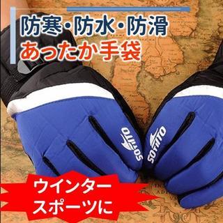 防寒・防水あったか手_袋 ウィンタースポーツに ブルー(t4_bu)(手袋)