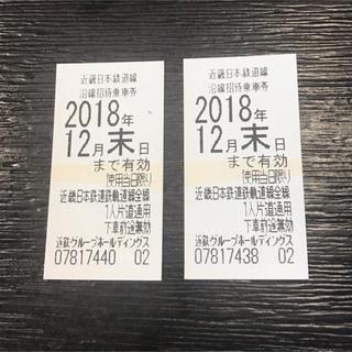 キンテツヒャッカテン(近鉄百貨店)の近鉄株主優待乗車券2枚セット(鉄道乗車券)