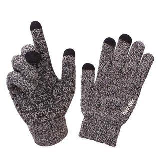 手袋 スマートフォン ニット ボーダー 操作対応 毛糸グローブ 滑り止め 防寒 (手袋)