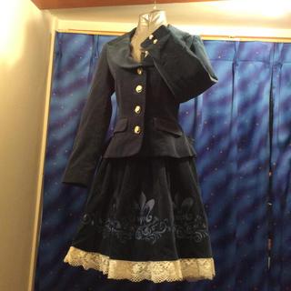 イノセントワールド(Innocent World)の美品 別珍 ジャケット&スカート ブルーグリーン(セット/コーデ)