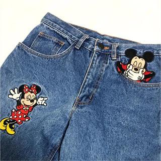 Disney - 90年代 ミッキー ミニー ワッペン デニム ディズニーストア