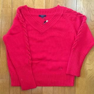 バーバリー(BURBERRY)のBURBERRY (バーバリー) 赤 ニット 袖切り替え カットソー セーター(ニット/セーター)