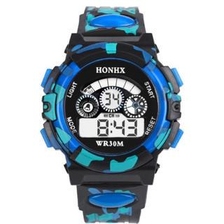 日本語説明付き☆新品送料込みHONHX 迷彩ブルーキッズ子供用アウトドア腕時計2(腕時計)