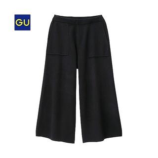ジーユー(GU)のGU ニットガウチョパンツ XL 黒 (キュロット)