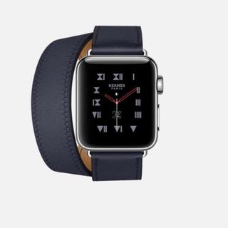 エルメス(Hermes)の【美品】Apple Watch Hermes ドゥブルトゥール ネイビー バンド(レザーベルト)