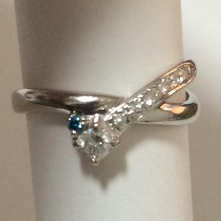 K18ダイヤリング ブルートパーズダイヤ0.12ct  18金(リング(指輪))