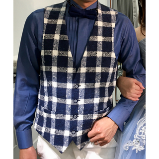 3d69bc75577ad 新郎 メンズ ブルーシャツ デニム風 カジュアル シャツ