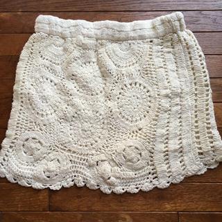 ザラ(ZARA)の❁ ZARA ザラ かぎ針編み ニットスカート オフホワイト 冬物(ミニスカート)